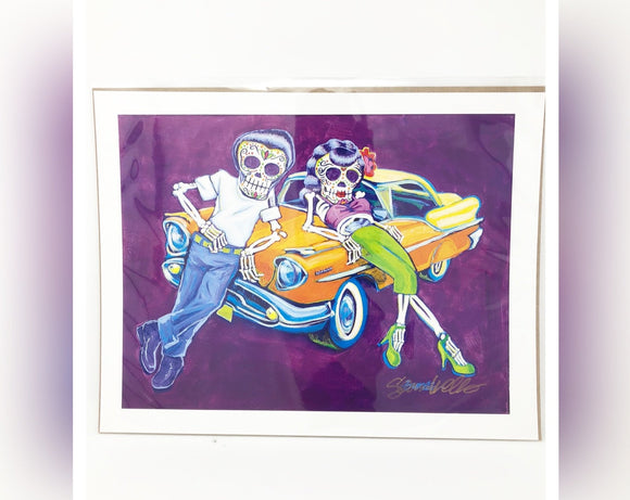 Dia de los Muertos Original Print - Hot Rod Rockabilly
