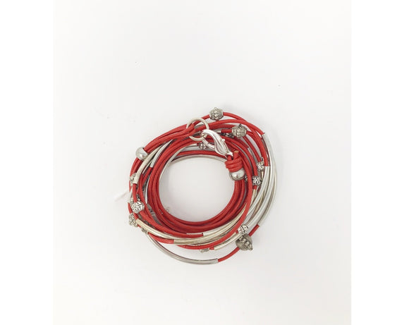 Red and Silver Wrap Bracelet