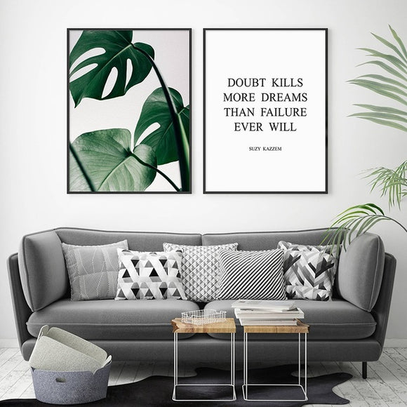 Green Monstera Print Tropical Leaf Poster Wall Art