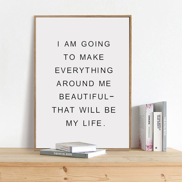 Inspirational Quote Dorm Poster Wall Art Canvas