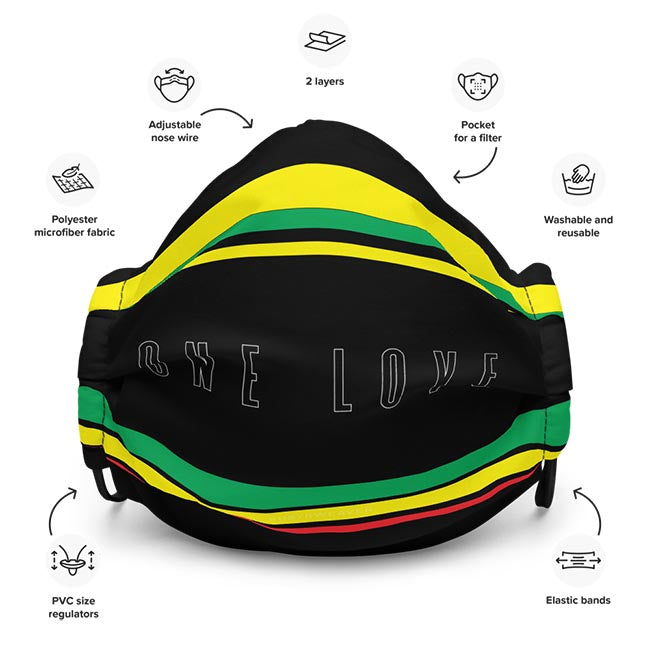 One Love for Jamaica Face Mask Features Description