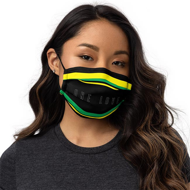 One Love for Jamaica Face Mask on Female Model