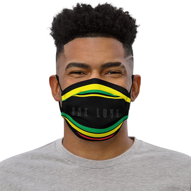 One Love for Jamaica Face Mask on Male Model