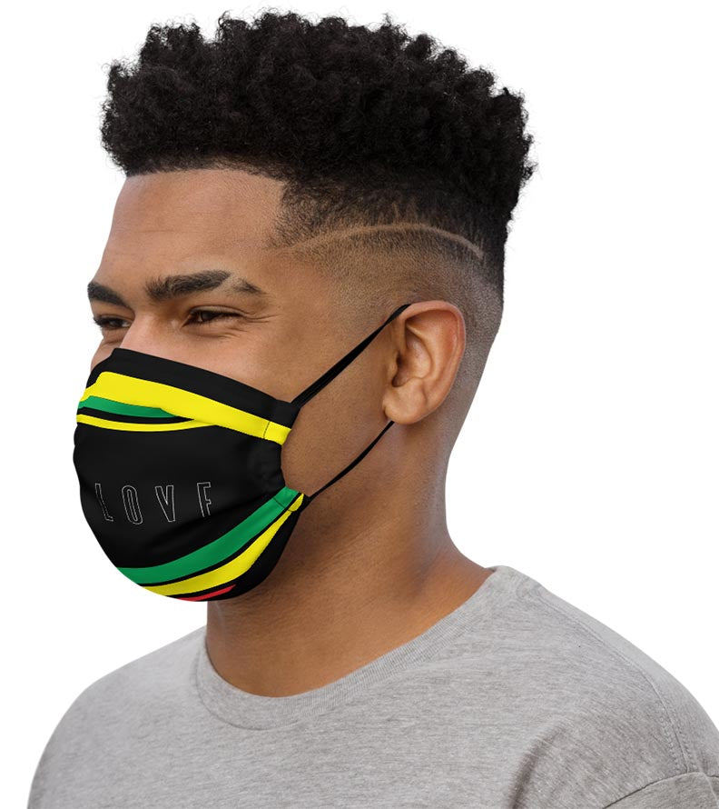 One Love for Jamaica Face Mask - left side view on male model