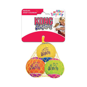 KONG AIR DOG BIRTHDAY BALL MED 3PK