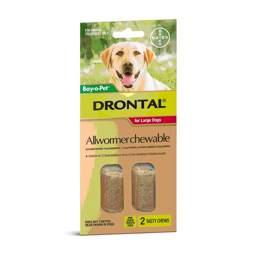 DRONTAL CHEWABLE 35KG 2PK