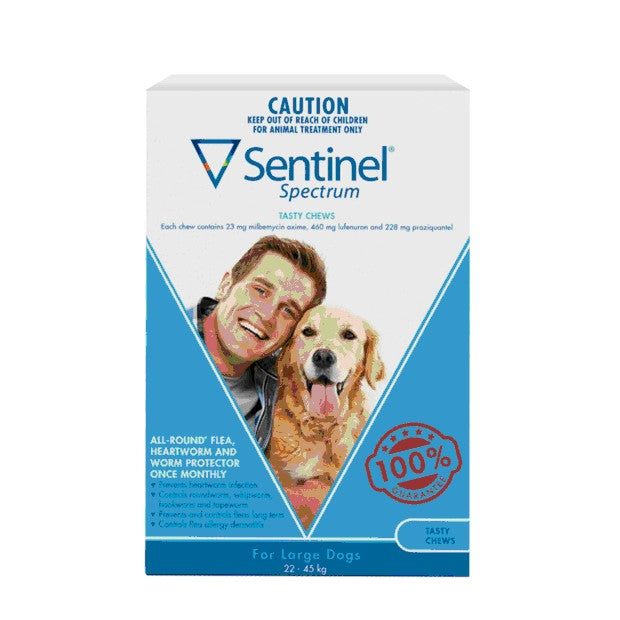 SENTINEL SPECTRUM BLUE LARGE DOG 22-45KG 6PK