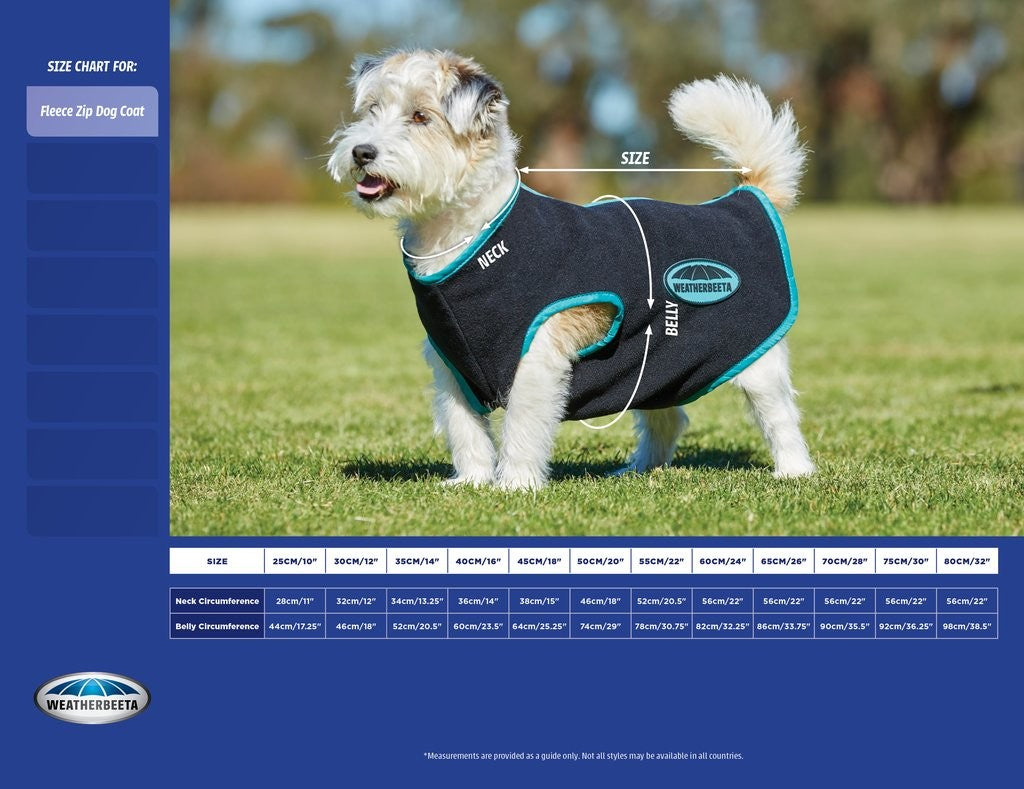 WeatherBeetha Comfitec Fleece With Zip Up Back Dog Coat 40cm