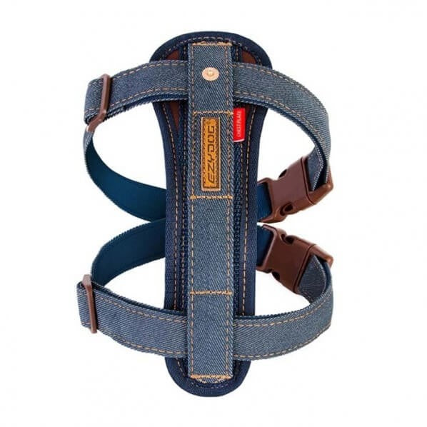 EZY DOG CHEST PLATE HARNESS DENIM LARGE