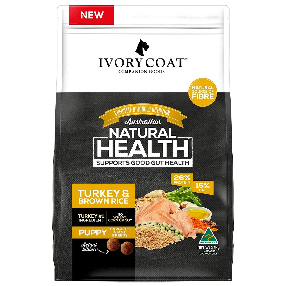 IVORY COAT PUPPY LARGE BREED TURKEY BROWN RICE 18KG