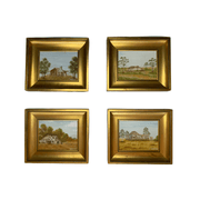 Set of 4 original framed paintings of country Australia by P. Nichols - Common Thread Style