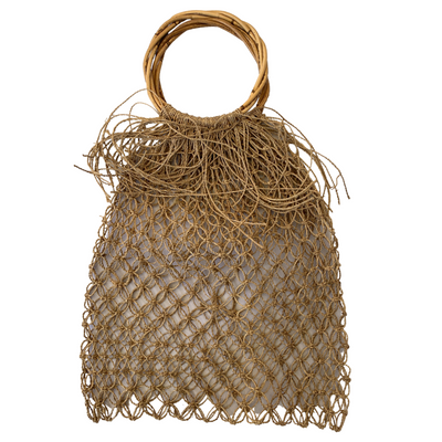 Handwoven Bag with Detailed Fringe and Bamboo Handle - Common Thread Style