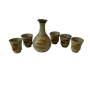 Mid-Century Pottery Sake Jug set (with 5 cups) - Common Thread Style