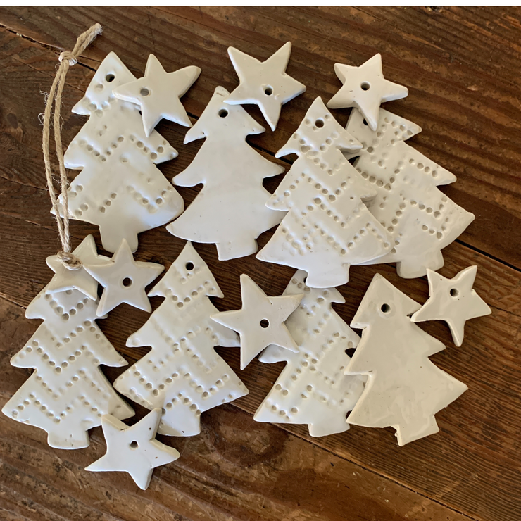 Handmade Christmas Trees with Stars - Common Thread Style