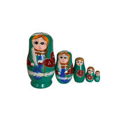 Matryoshka Dolls - Nesting Dolls - Aqua set of 5 - Common Thread Style