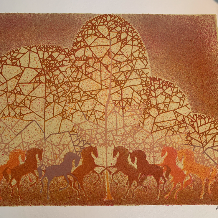 Horse Print on Art Paper - Signed and Numbered - From Japan - Common Thread Style