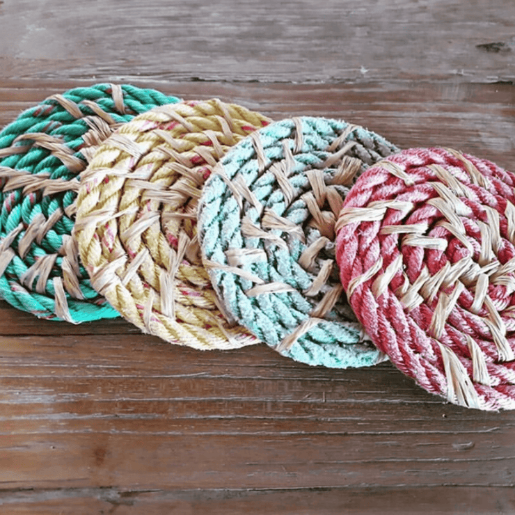 Handwoven Up-Cycled Coasters - Set of 4 - Common Thread Style