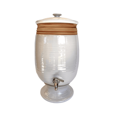 Handmade Stoneware Water Filter System with Oatmeal Detail - Common Thread Style