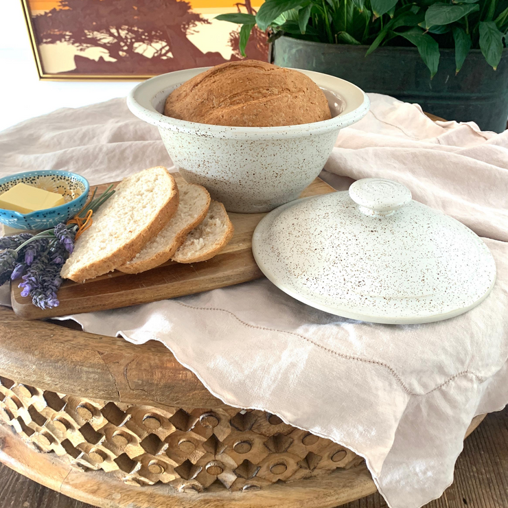 Handmade Stoneware Bread Cloche in Oatmeal - Common Thread Style