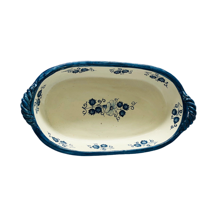 Italian Ceramic Hand Painted Oval Display Bowl - Common Thread Style