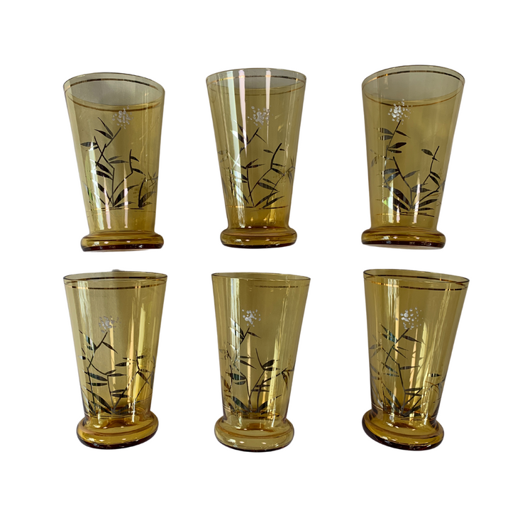 Vintage Chinese Glass Painted Cordial Set (Jug + 6 glasses) - Common Thread Style