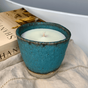 "Hand-poured ""Grapefruit and Lime"" Soy Candle in Reusable Aqua Keeper Cup - Common Thread Style"