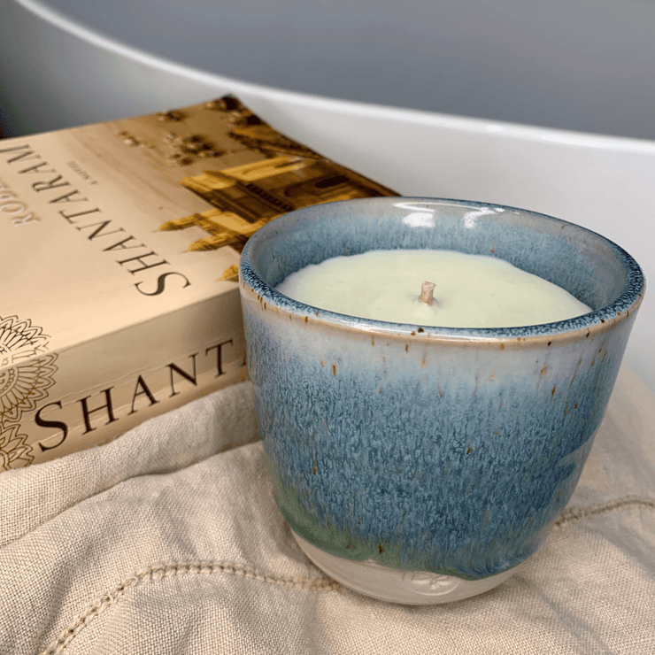 "Hand-poured ""Avocado Mint"" Soy Candle in Reusable Indigo Blue Keeper Cup - Common Thread Style"