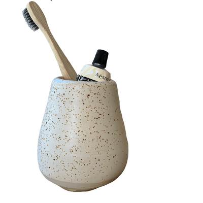 Handmade Pottery - Sand Speckled Toothbrush Holder/Vase (Small) - Common Thread Style