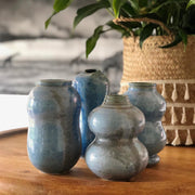 Handmade Pottery - Indigo Blue Curvy Vase (Small) - Common Thread Style