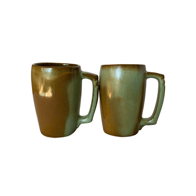 Pair of Vintage Frankoma Art Pottery Mugs - prairie green glaze over Ada clay 16 oz Tall - Common Thread Style
