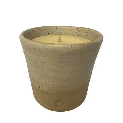 "Hand-poured ""Basil and Cucumber"" Soy Candle in  Reusable Stone Keeper Cup - Common Thread Style"