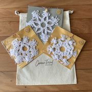 Set of 3 Macrame Snowflake Christmas Decorations - Common Thread Style