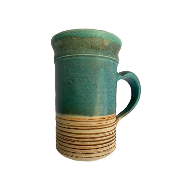 Handmade Pottery - Tall Etched Aqua Mug - Common Thread Style
