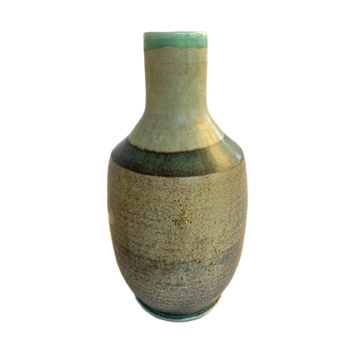 Handmade Pottery - Tall Grey, Aqua & Fawn Vase - Common Thread Style