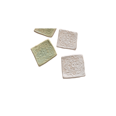 Handbuilt Pottery - Ceramic Tiles in Pale Blue and Green Tea - Common Thread Style