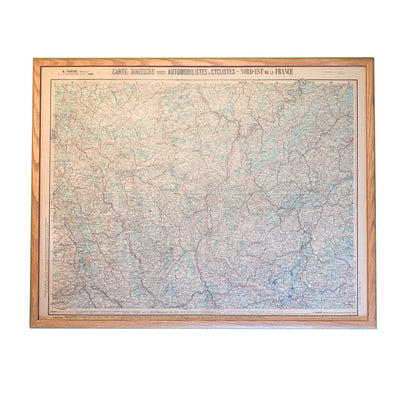 Vintage Framed Military Map North-East of France (Allied movement) - Common Thread Style