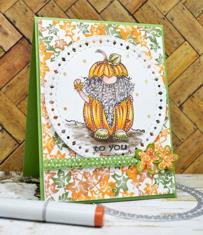 Cute little greeting card to YOU!  Jack O'Gnome free digital stamp from TLCDesigns.shop is on center display in this project full of fall colors Orange and Green