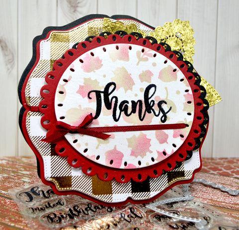 Beautifully layered Autumn colors on this Greeting Card to say Thanks with the paper crafting products sold at TLCDesigns.shop.  The Star Spangled Confetti die resembles a fall leaf in this project!