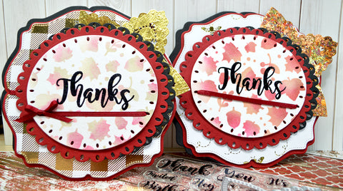 Two different ways of designing fall greetings with a bit of gilding flakes.  Use the Star Spangled Confetti die along with stamping the Thanks sentiment for your next fall project.  Some stencil work and some varied design paper and these two projects can bring on the shine of the season!