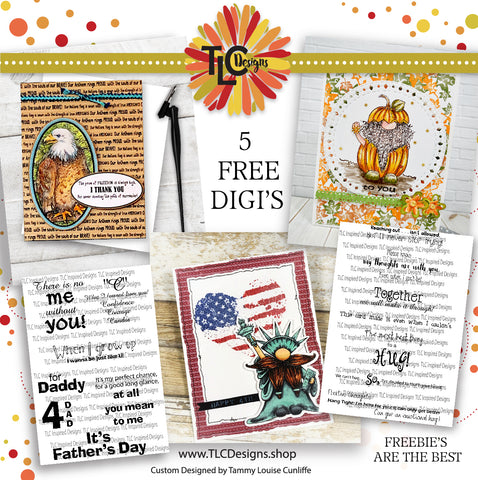 How many Freebie digital stamps are available at TLCDesigns.shop?  All 5 of them are just adorable