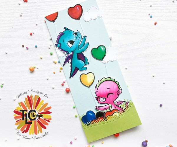 tlcdesigns.shop misty's first slimline card project with Happy the Dragon and Sweetie the dragon illustrations and the Land and Seas Die