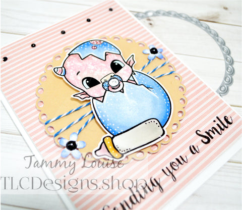 """Adorable sweet in pink greeting card made with the new mini release of a digital dinosaur stamp named """"Greetings"""" from TLCDesigns.shop by Tammy Louise"""