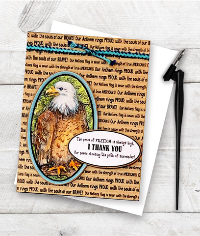 """Free and Brave designed greeting card made with the Free digital stamp set """"Brave and Free"""" from TLCDesigns.shop"""