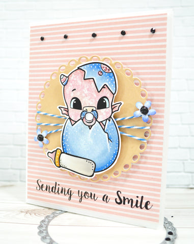 Soft pink background on a greeting card designed with the newest digital release image called Greetings from TLCDesigns.