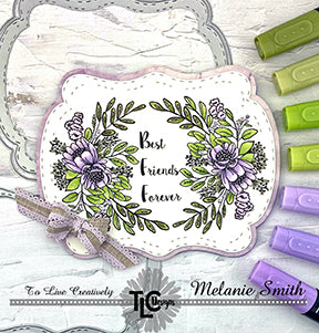 "Use your favorite Copic colors on the Happy Bouquet digital stamp from TLC Designs on this groovy and curvy framed die ""See you in the Center"" from TLCDesigns.shop. It's perfect in purples and greens don't you think?"