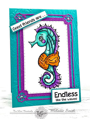 The adorable Butterfly Rectangle frame is cut in purple glitter paper and perfectly centered on a turquois embossed cardstock. In the center for the focal point is the digital image called Seahorse Samm from the TLCDesigns.shop and the sentiment is Good friends are ... Endless like the waves! Don't you just love it?