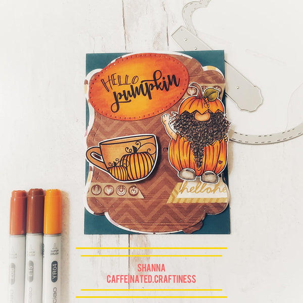 Jack O'Gnome is the perfect digital stamp for your Halloween or fall greeting cards!  His orange pumpkin outfit and a cuppa jo go together perfectly from TLCDesigns.shop