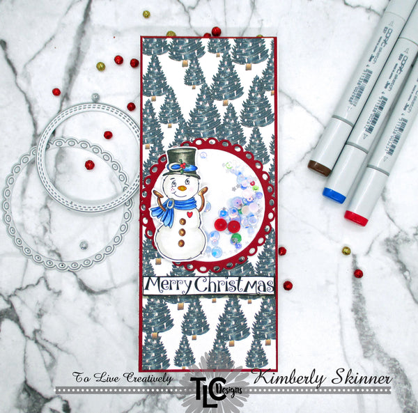 Frosty the digital stamp image from TLCDesigns.shop paper crafting store is front and center on this greeting card project!  Surrounded by perfectly color coordinated custom designer papers and popped up with a delightful scalloped doily die cut in red!  It's even a shaker card too!  The easy holiday craft project!