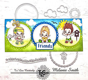 The Happy Dragonfly Circle die from TLCDesigns is showing off it's stuff in this adorable multi tonal slimline card. With Blue sky and clouds from the Aztec Sunshine Die and the Troll Cricket Fun critters from the Polymer stamp set, there's no better way to say friends! from TLCDesigns.shop