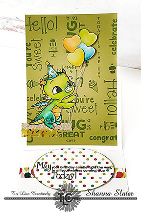 Happy the Dragon Polymer stamps from TLCDesigns.shop is front and center on this DIY background lime green paper pack!  Holding as many heart shaped balloon as possible to wish you a great birthday!